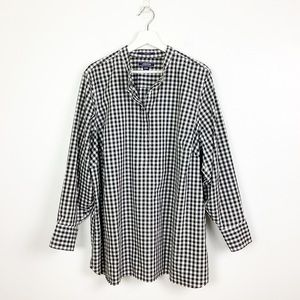 Lands End Black & White Gingham Popover Top 22W